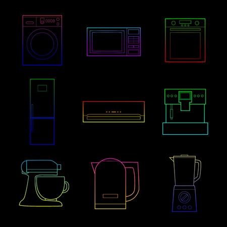 Set of simple color appliances line art icons on black background