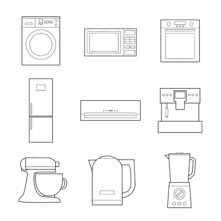 Set of simple appliances lineart icons on white background