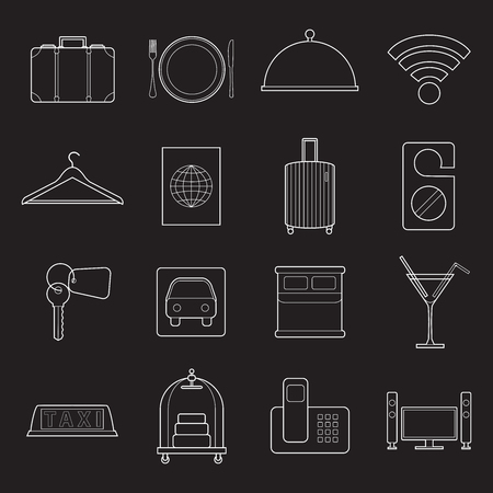 Set of simple modern hotel symbols line art  icons