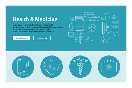 Line art design of web header template with flat icons of medicine.