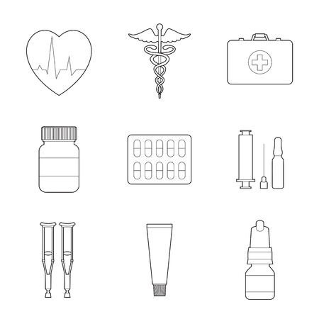 Set of simple medicine line art icons on white background