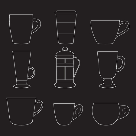 Set of simple colorful coffee cups and french press line art  icons