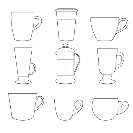 Set of simple colorful coffee cups and french press line art  icons on white background