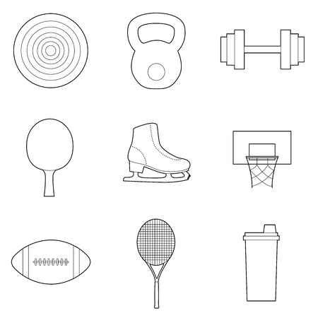 Set of simple sport equipment  line art icons on white background