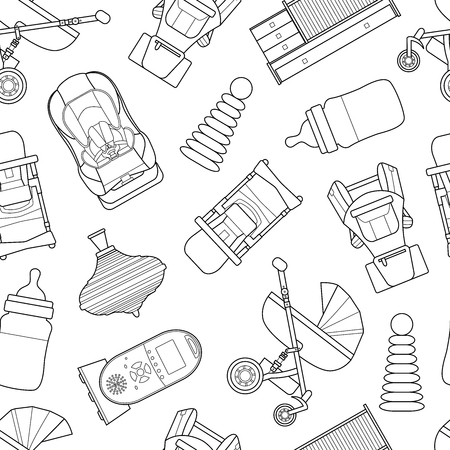 Seamless pattern background with line art products icons for a newborn. Ilustração