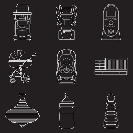 Set of line art products icons for a newborn.