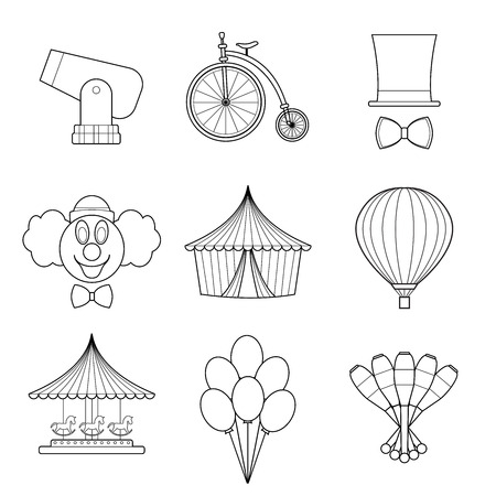 Set of simple circus symbols line art icons on white background