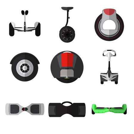 Set of simple gyroscooter flat icons