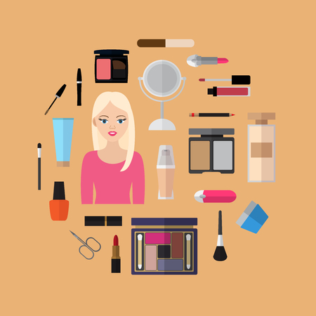 Flat design template with flat icons of cosmetics and makeup.