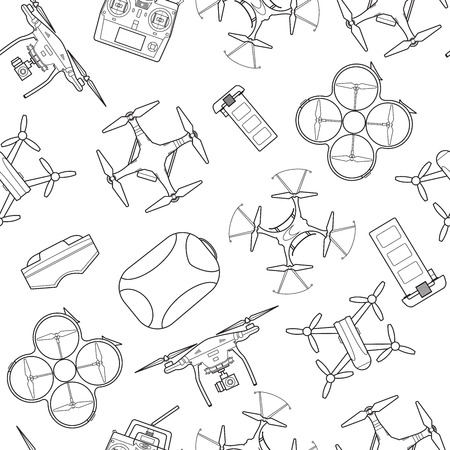 Seamless pattern background with simple drones line art icons Ilustração