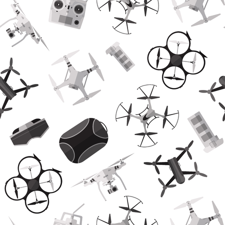 Background with simple monochrome drones flat icons