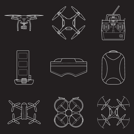 Set of simple drones line art  icons
