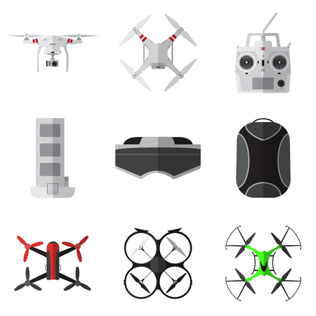 Set of simple drones flat icons