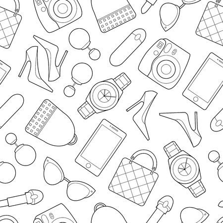 Simple fashion line art objects on  white backdrop vector illustration
