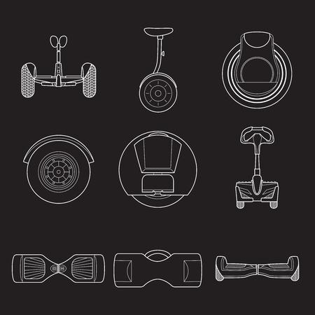 Set of simple gyroscooter line art icons on black  background vector illustration. Gyrobord set Ilustração
