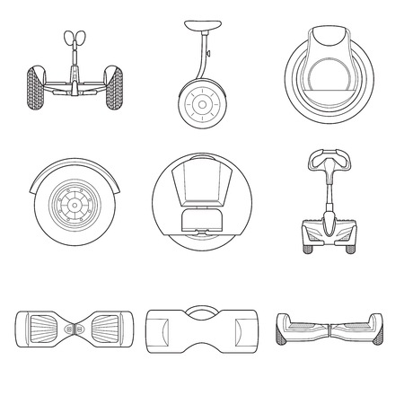 Set of simple gyroscooter line art icons on white background vector illustration.