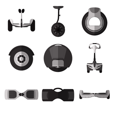 Set of simple monochrome gyroscooter flat icons on white background