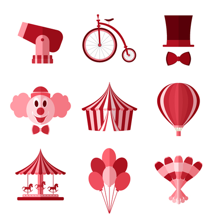 Set of simple red circus symbols flat icons