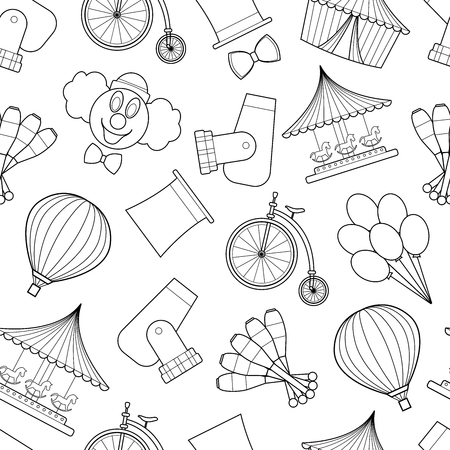 Seamless pattern background with simple circus symbols line art icons on white background vector illustration Ilustração