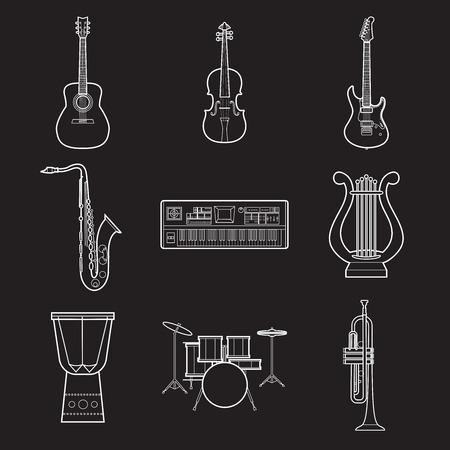 Satz einfache Musikinstrumente weiße Linie Kunstikonen auf schwarzer Hintergrundvektorillustration Standard-Bild - 85016627