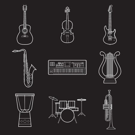 Set of simple musical instruments white line art icons on black background vector illustration Ilustração