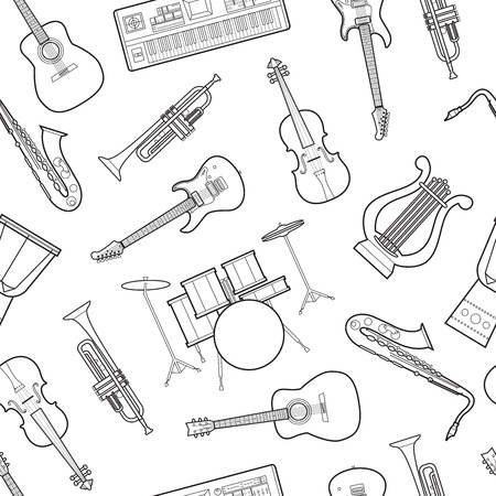 Simple musical instruments flat icons Imagens - 85046780