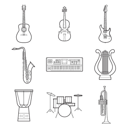 Set of simple musical instruments line art icons Imagens - 85046783