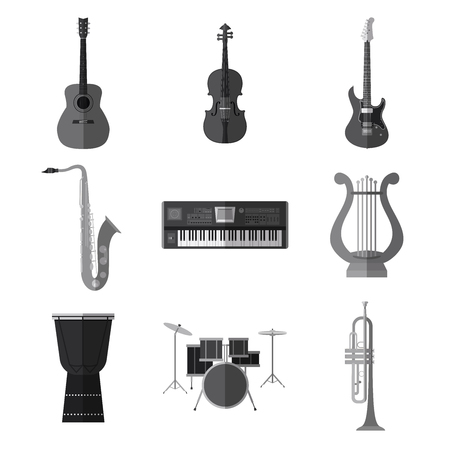 Set of simple monochrome musical instruments flat icons on white background vector illustration. Imagens - 85158484