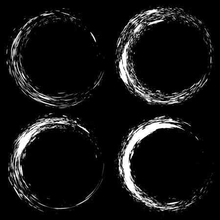 Set of white ink splash circles on black background vector illustration. Grunge elements Ilustração