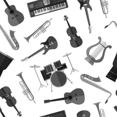 Simple monochrome musical instruments flat icons 向量圖像
