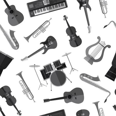 Simple monochrome musical instruments flat icons Ilustração