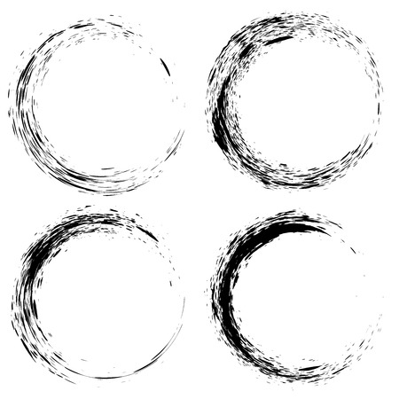 Set of black ink splash circles on white background