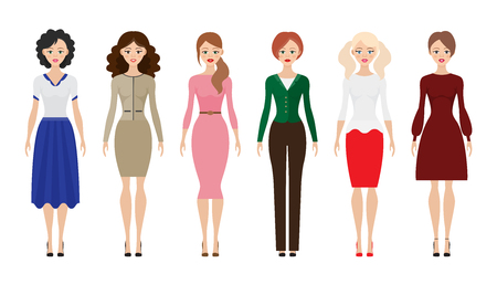 Set of woman dress code flat icons vector illustration. Women flat icons on white background.