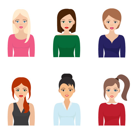 Woman bust vector illustration. Women bust flat icons on white background