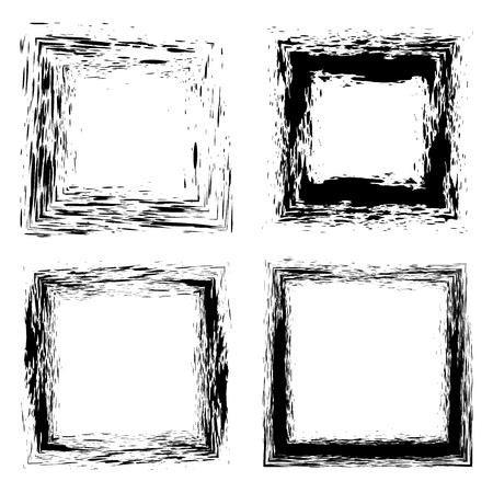 Set of grunge hand drawn splash paintbrush squares. Ilustração