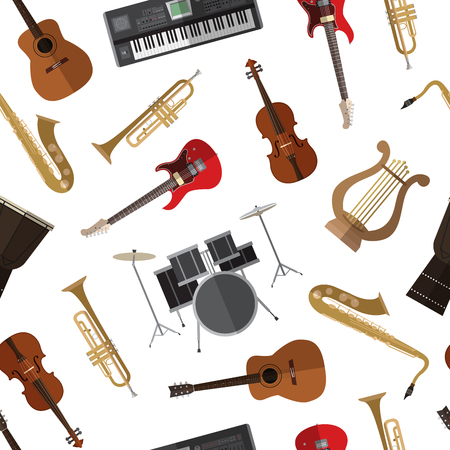 Seamless pattern background with simple musical instruments flat icons on white background
