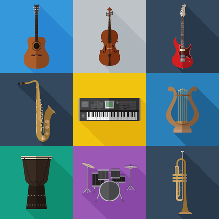 Set of simple musical instruments flat icons on color squares vector illustration.