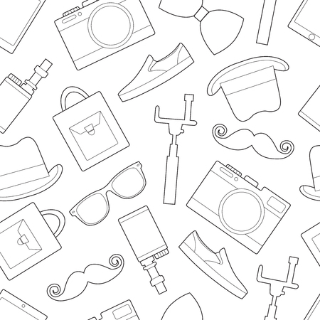 Simple hipster accessory line art icons 向量圖像