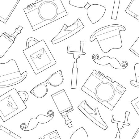Simple hipster accessory line art icons Ilustração