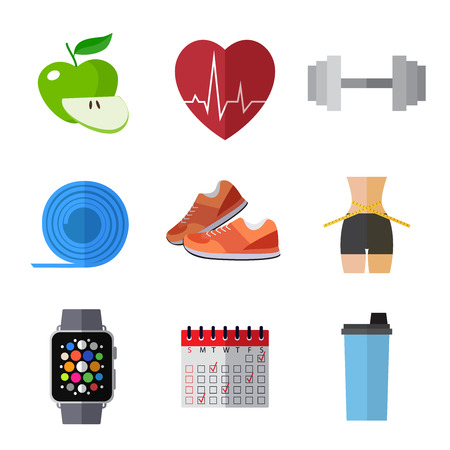 Set of simple sport and healthy lifestyle equipment  flat icons Ilustração