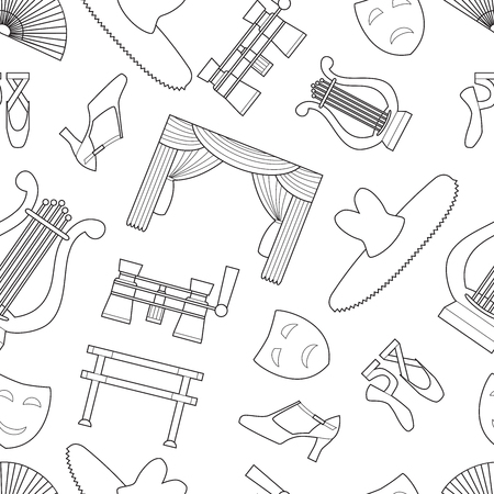 Simple theater and ballet symbols line art icons Ilustração
