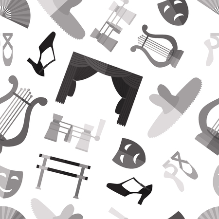Simple monochrome theater and ballet symbols flat icons