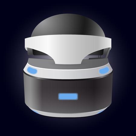 Virtual reality realistic helmet on dark background vector illustration