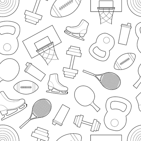 Simple sport equipment  line art  icons