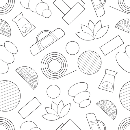 Simple yoga equipment line art icons on white background