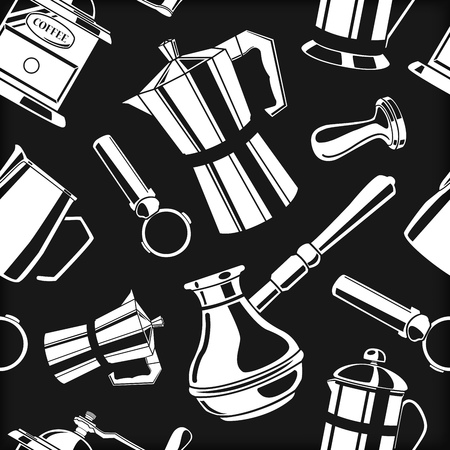 A Seamless pattern background with coffee tools vector illustration. Ilustração