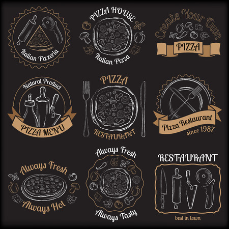 drawing pin: Set of pizza menu restaurant white and beige badges on black background vector illustration