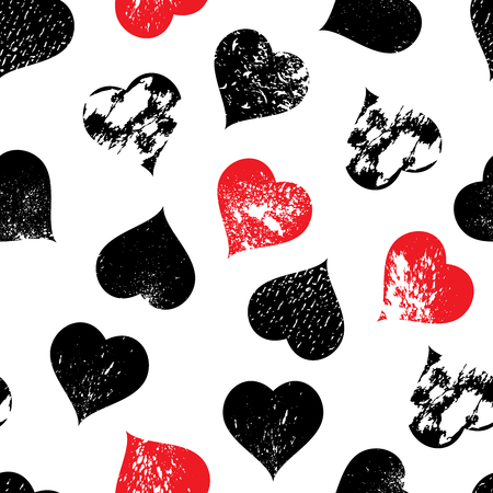 Seamless pattern background with hearts with carved grunge spots Imagens