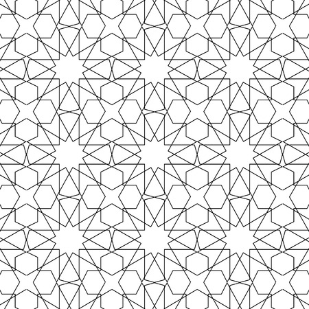 Seamless line art islamic geometric art pattern background. Islamic decoration  illustration