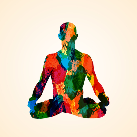 Color silhouette of warrior pose on spots background. Yoga pose  illustration Imagens - 95337843